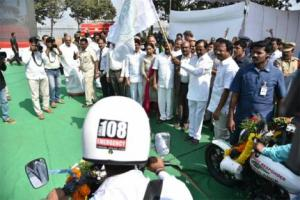 Hon'ble Chief Minister Telangana Sri. K Chandrashekar Rao Launched 200 Drop Back Ambulances and 50 bike Ambulances on 17th January 2018